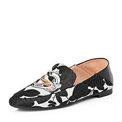 STACCATO/思加图2018春专柜同款黑白绣花布面平安虎穆勒鞋9D925AM8