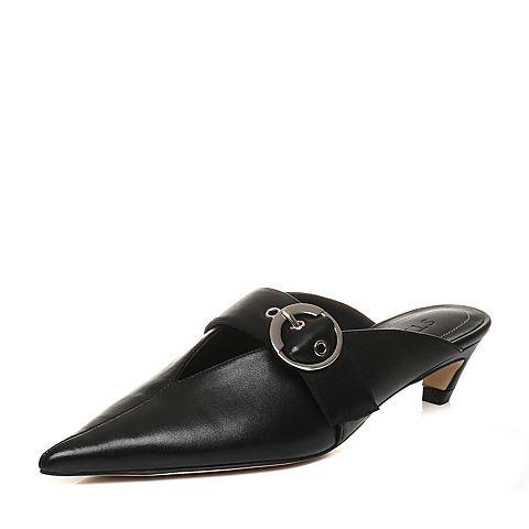 STACCATO/思加图2018年春季专柜同款黑色绵羊皮女凉拖鞋9N502AH8