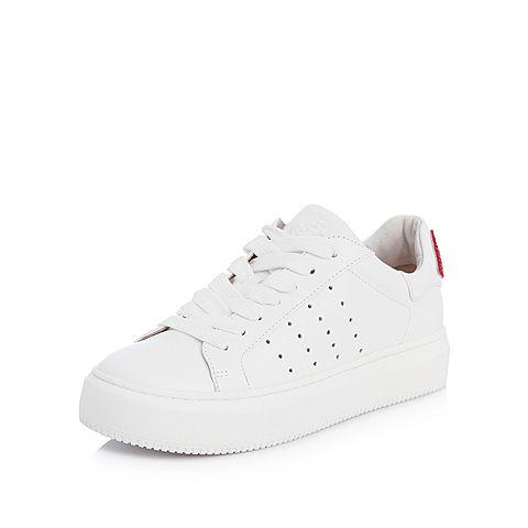 STACCATO/思加图2018年春季专柜同款白色牛皮嘴唇装饰小白鞋9D638AM8