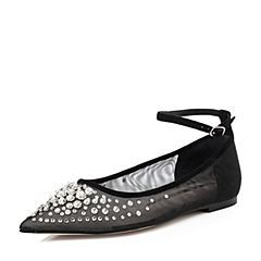 STACCATO/思加图2018年春季专柜同款黑色网面钻饰浅口女单鞋9L711AQ8