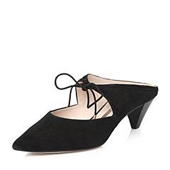 STACCATO/思加图2018年春季专柜同款黑色羊绒皮女皮凉鞋9YD24AH8