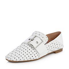 STACCATO/思加图2018年春季专柜同款白色牛皮编织休闲鞋9D924AM8