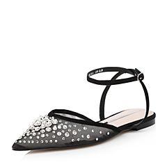 STACCATO/思加图2018年春季专柜同款黑色网布女皮凉鞋9L710AH8