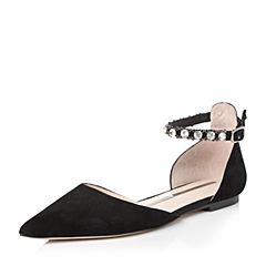 STACCATO/思加图2018年春季专柜同款黑色羊绒皮女皮凉鞋9L705AK8