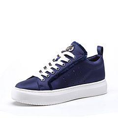 STACCATO/思加图2018年春季专柜同款深蓝色真丝布面满帮女皮鞋9D624AM8