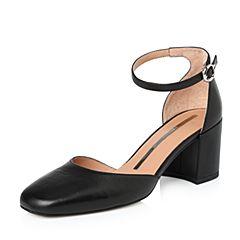 STACCATO/思加图2018年春季专柜同款黑色绵羊皮女皮凉鞋9L305AK8