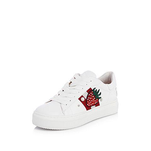 STACCATO/思加图2018春专柜同款白色牛皮平安虎头装饰小白鞋9D633AM8