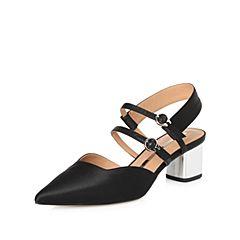 STACCATO/思加图2018年春季专柜同款黑色布面女凉鞋9YD20AH8