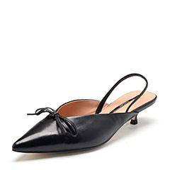 STACCATO/思加图2018年春季专柜同款黑色羊皮女穆勒拖鞋9L203AH8