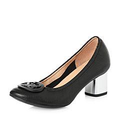 STACCATO/思加图2018年春季专柜同款黑色羊皮浅口女单鞋ER961AQ8
