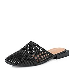 STACCATO/思加图2018年春季专柜同款黑色人造革女凉拖鞋9K902AH8