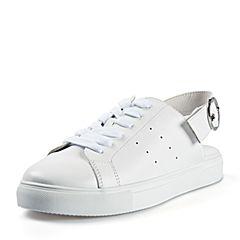 STACCATO/思加图2018年春季专柜同款白色牛皮简约满帮女皮鞋S1101AM8