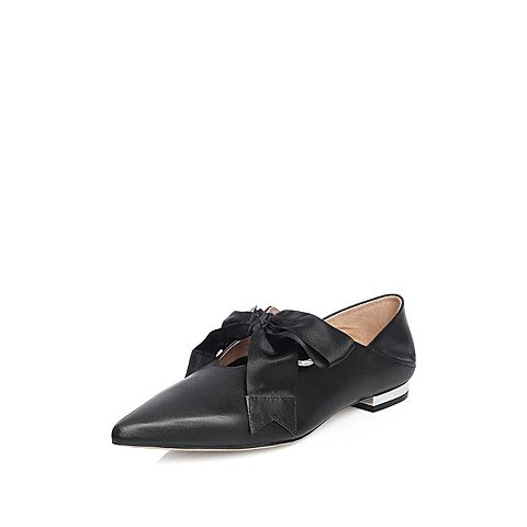 STACCATO/思加图2018年春季专柜同款黑色牛皮蝴蝶结女单鞋S3101AM8