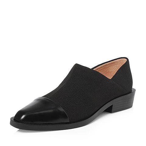 STACCATO/思加图2018年春季专柜同款黑色拼接满帮女皮鞋9I711AM8