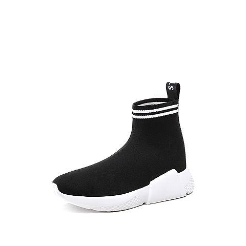 STACCATO/思加图2018年春季专柜同款黑色编织帮面女袜靴9H831AD8