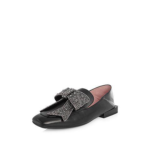 STACCATO/思加图2018年春季专柜同款黑色绵羊皮满帮女皮鞋9K913AM8