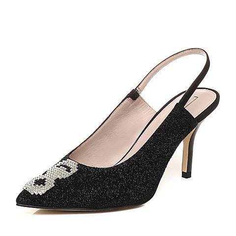 STACCATO/思加图2018年春季专柜同款黑色亮片布浅口女凉鞋9I222AH8