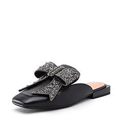 STACCATO/思加图2018年春季专柜同款黑色绵羊皮时尚穆勒拖9K911AH8