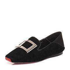 STACCATO/思加图2018年春季专柜同款黑色真皮金属方扣吸烟鞋Q3401AM8