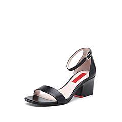STACCATO/思加图2018年夏季专柜同款黑色油皮牛皮革女皮凉鞋9O206BL8