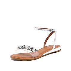 STACCATO/思加图2018年夏季专柜同款银色牛皮革女皮凉鞋9JI11BL8