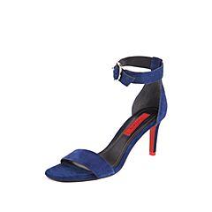 STACCATO/思加图2018年夏季专柜同款深蓝色羊绒皮革一字带女皮凉鞋9O302BL8