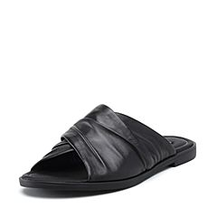 STACCATO/思加图2018年夏季专柜同款黑色绵羊皮革女皮凉鞋9JH20BT8