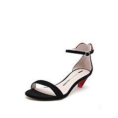 STACCATO/思加图2018年夏季专柜同款黑色羊绒皮革一字带女皮凉鞋9O806BL8