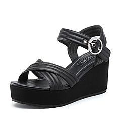 STACCATO/思加图2018年夏季专柜同款黑色绵羊皮革女皮凉鞋9P906BL8