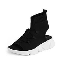 STACCATO/思加图2018年夏季黑色系带飞织运动凉鞋L6401BL8