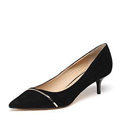 STACCATO/思加图2018春季专柜同款黑色羊绒皮浅口女单鞋9YD09AQ8