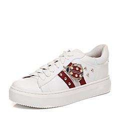 STACCATO/思加图2018年春季专柜同款牛皮休闲女小白鞋9D612AM8