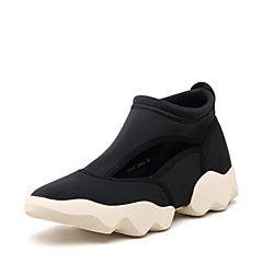 STACCATO/思加图2018年秋季专柜同款黑色高帮镂空布面深口休闲鞋