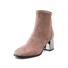 STACCATO/思加图2018年冬季专柜同款杏色羊绒皮革女皮靴R9201DZ8