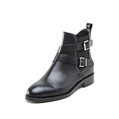 STACCATO/思加图2018冬专柜同款牛皮方跟时尚女短靴Q9601DD8