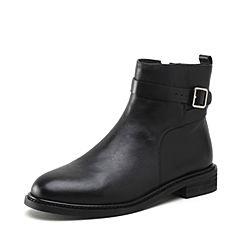 STACCATO/思加图2018冬季新款黑色牛皮革短筒女皮靴N4701DD8