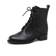 STACCATO/思加图2018冬季新款黑色牛皮革英伦风马丁靴R1602DD8
