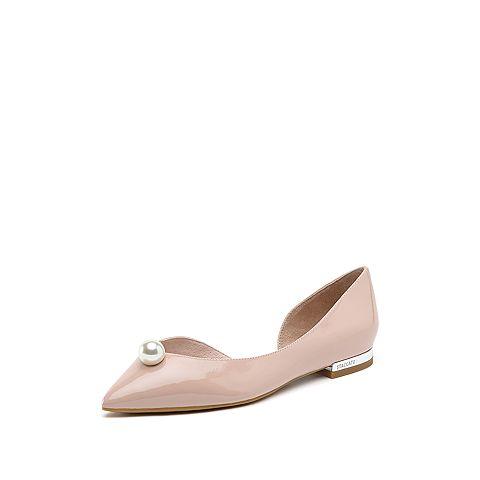 思加圖2019春季新款時尚低跟漆皮尖頭休閑氣質女中空涼鞋9E520AK9