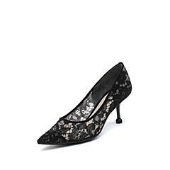 思加图2019春季新款尖头细高跟时尚优雅网布女浅口单鞋9Y803AQ9