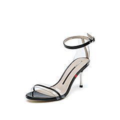 思加图2019夏季新款时尚细高跟漆皮一字式扣带女凉鞋9VN35BL9
