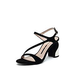 思加图2019夏季新款粗高跟侧后空一字带优雅女纯凉鞋9VN54BL9