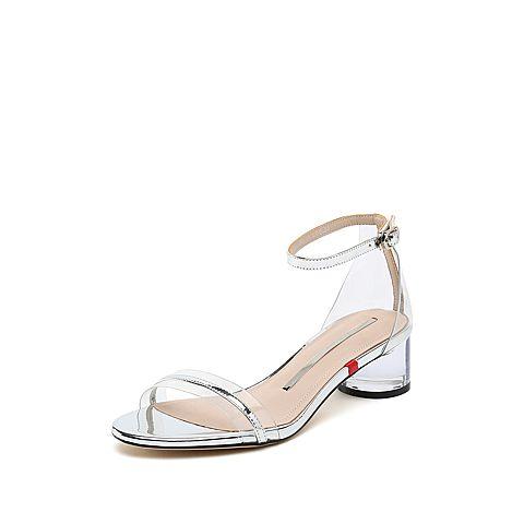 思加图2019夏季新款时尚粗中跟漆皮一字带优雅女纯凉鞋9O814BL9
