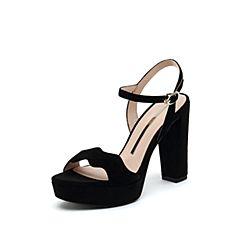 思加图2019夏季新款露趾超高跟粗跟优?#29260;?#36136;女纯凉鞋9LO22BL9