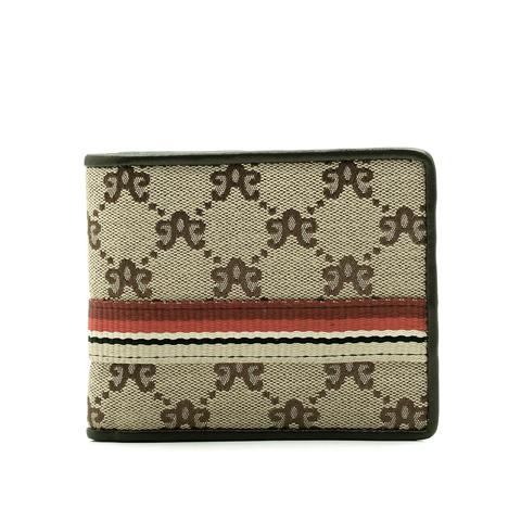 tata/他她啡色logo布配彩虹条短款钱包