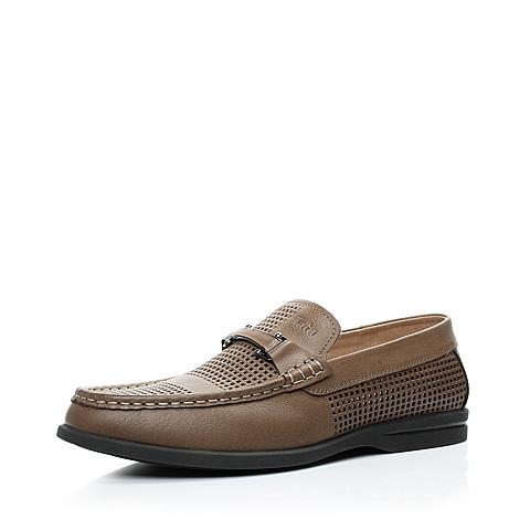 黑色 欧美/Tata/他她2013年夏季棕色油磨砂男单鞋16085BK3打孔透气