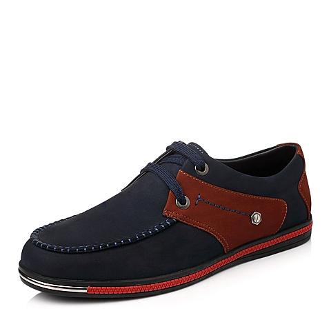 Tata/他她秋季蓝色/红棕色时尚休闲磨砂牛皮男鞋W3603CM4