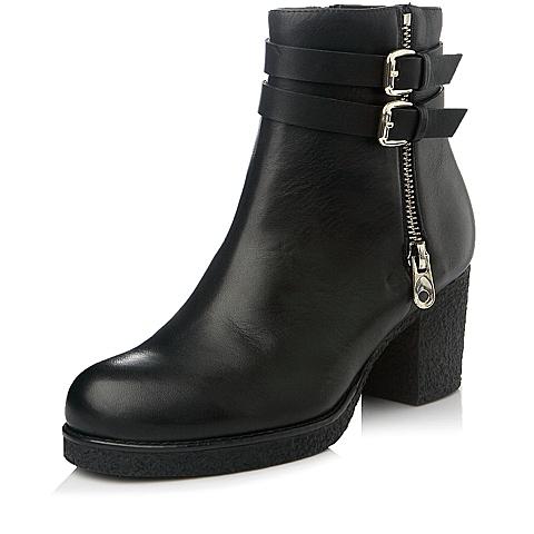 Tata/他她冬季专柜同款黑色小牛皮女短靴2XD42DD4