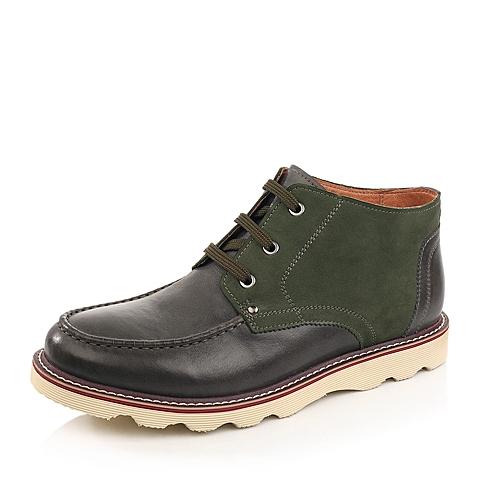 Tata/他她冬季绿色磨砂牛皮/灰色油蜡牛皮男靴AIF06DD4