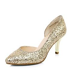 Tata/他她 春季专柜同款 女士金黄亮片布/浅金贴膜牛皮女凉鞋2ZP18AK4