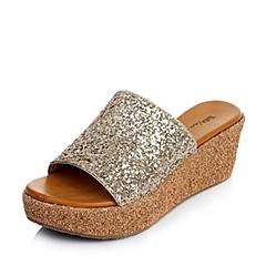 Tata/他她夏季专柜同款金黄亮片布/浅金贴膜牛皮女凉鞋2YQ02BT4